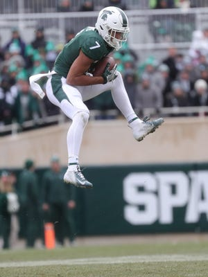 Michigan State's Cody White makes a catch against Ohio State during the first half Saturday, Nov. 10, 2018 at Spartan Stadium, in East Lansing.