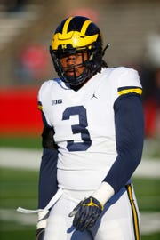Michigan defensive lineman Rashan Gary during warm up before game against Rutgers on Saturday, Nov. 10, 2018, in Piscataway, N.J.