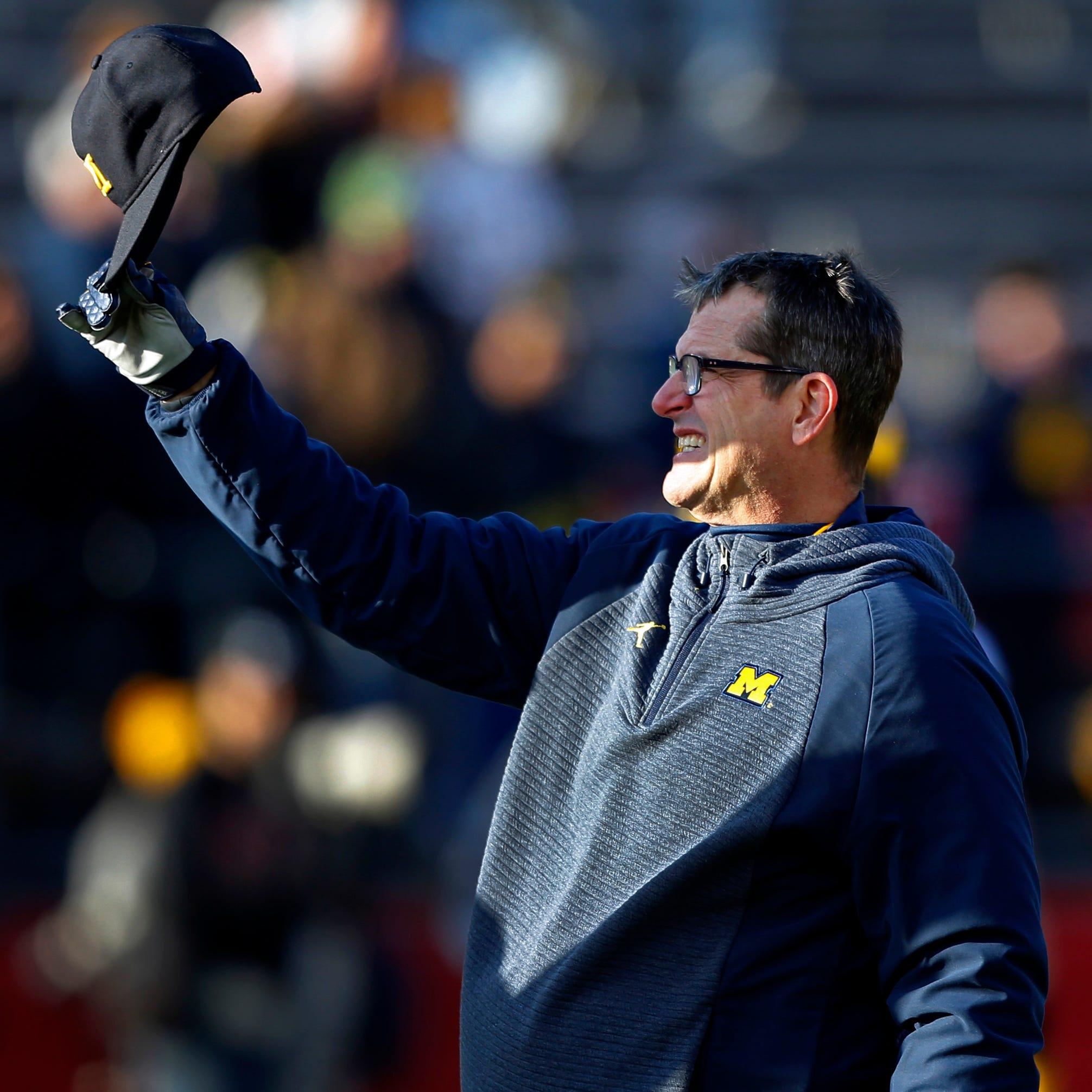 Michigan football: Jim Harbaugh compliments his OL, Don Brown, Indiana