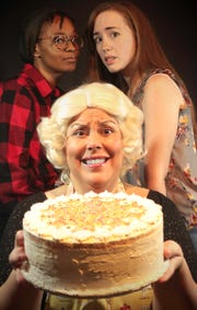 """Suzan M. Jacokes, front, with Audrey Jai, left, and Maggie Alger in the Ringwald Theatre's production of """"The Cake."""""""
