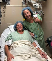 Kristi Cooper and Molly Williams right before surgery in pre-op.