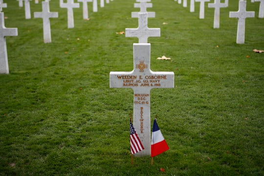 A soldier grave is pictured after a ceremony at the Aisne Marne American Cemetery near the Belleau Wood battleground, in Belleau, France, Saturday, Nov. 10, 2018. Belleau Wood, 90 kilometers northeast of the capital, Iis the place where U.S. troops had their breakthrough battle by stopping a German push for Paris shortly after entering the war in 1917.