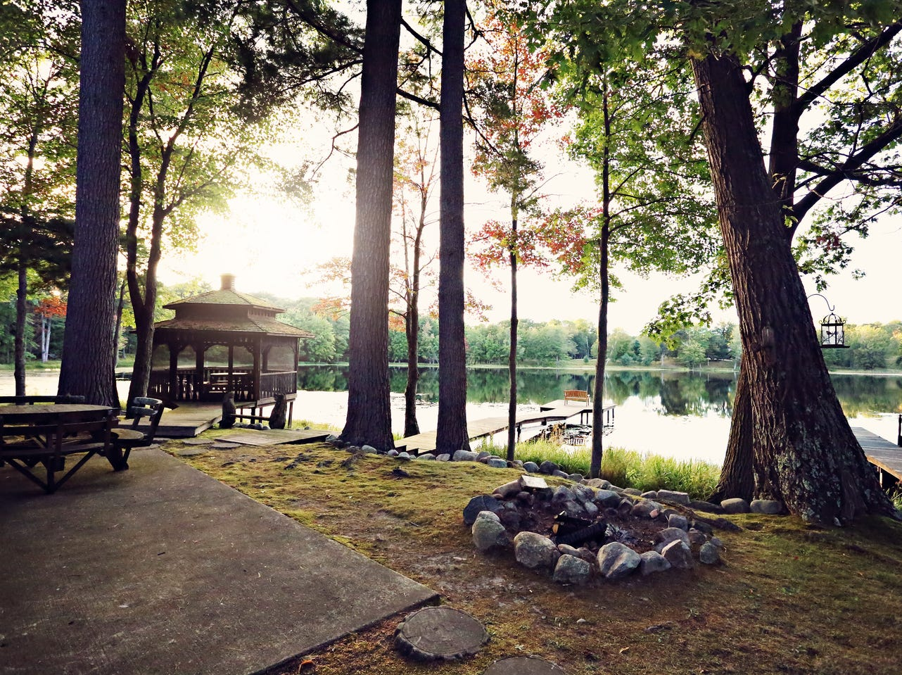 There are two, 20-acre lakes on the spread, one to the west of the log home and one to the south.