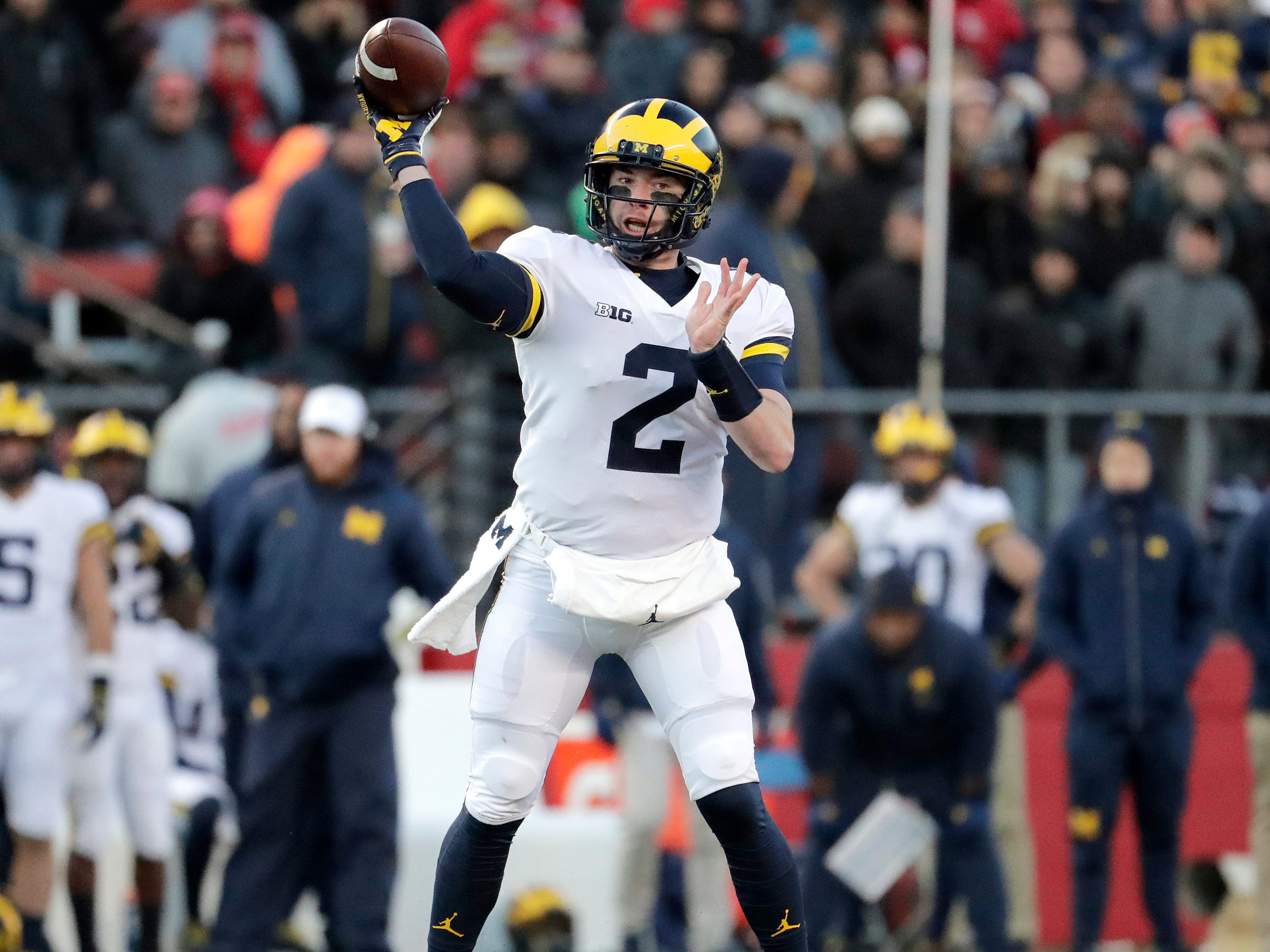 Michigan quarterback Shea Patterson looks to pass.