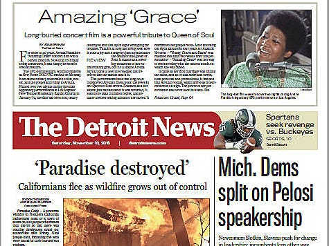 The front page of The Detroit News on November 9,2018.