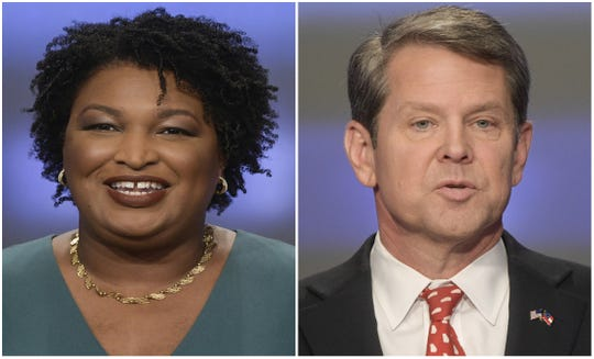 Georgia gubernatorial candidates Stacey Abrams, left, and Brian Kemp