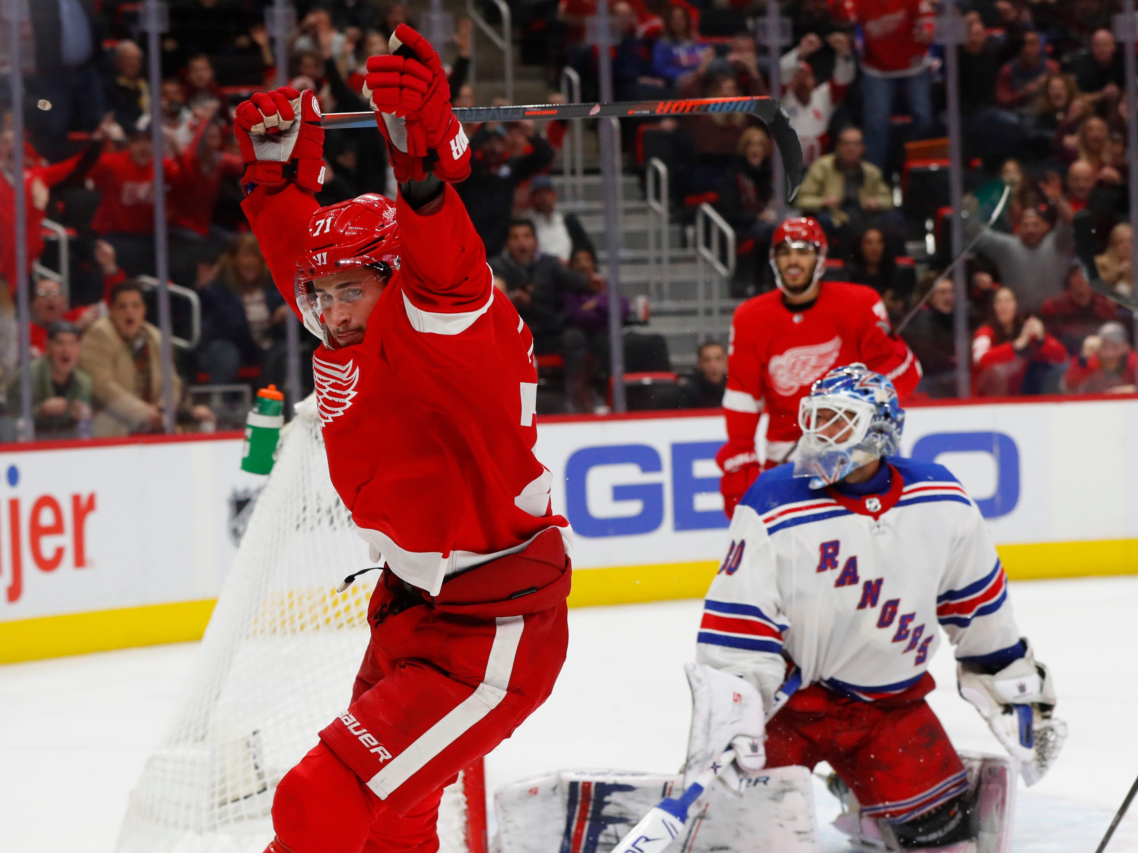 Detroit Red Wings' Dylan Larkin celebrates his goal against the New York Rangers in overtime of an NHL hockey game in Detroit, Friday, Nov. 9, 2018. Detroit won 3-2.