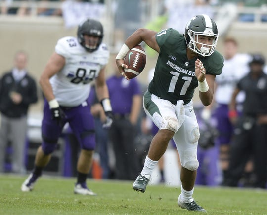 Junior Connor Heyward is one of the more experienced candidates vying for the tailback spot in the Michigan State backfield.