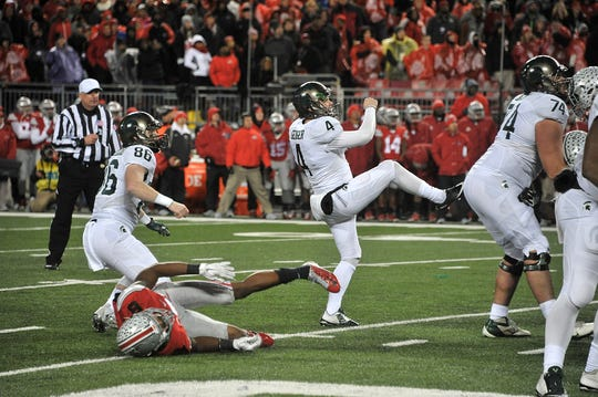 Michigan State kicker Michael Geiger (4) booted this winning field goal to topple Ohio State, helping land the Spartans in the BIg Ten title game and an eventual appearance in the College Football Playoff.