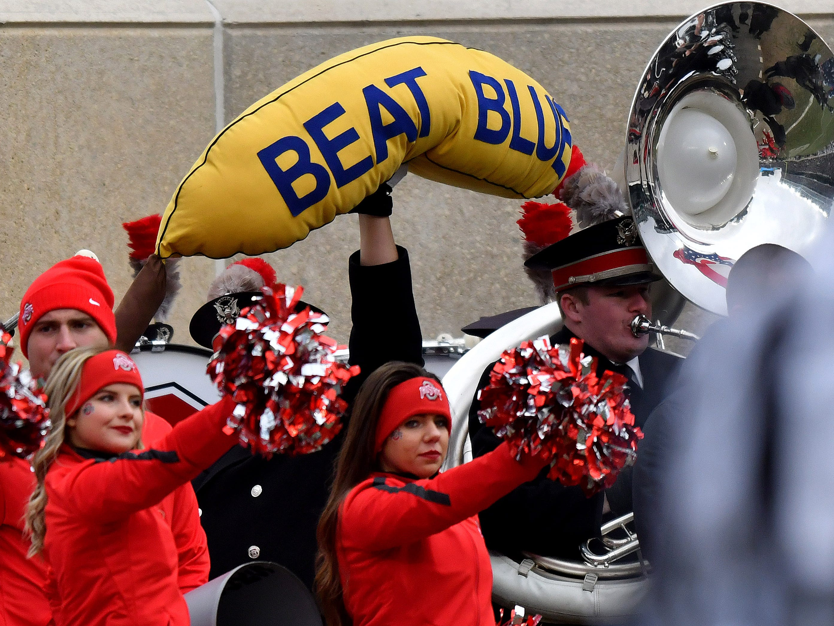 The Ohio State Band holds aloft a message for the Michigan Wolverines.
