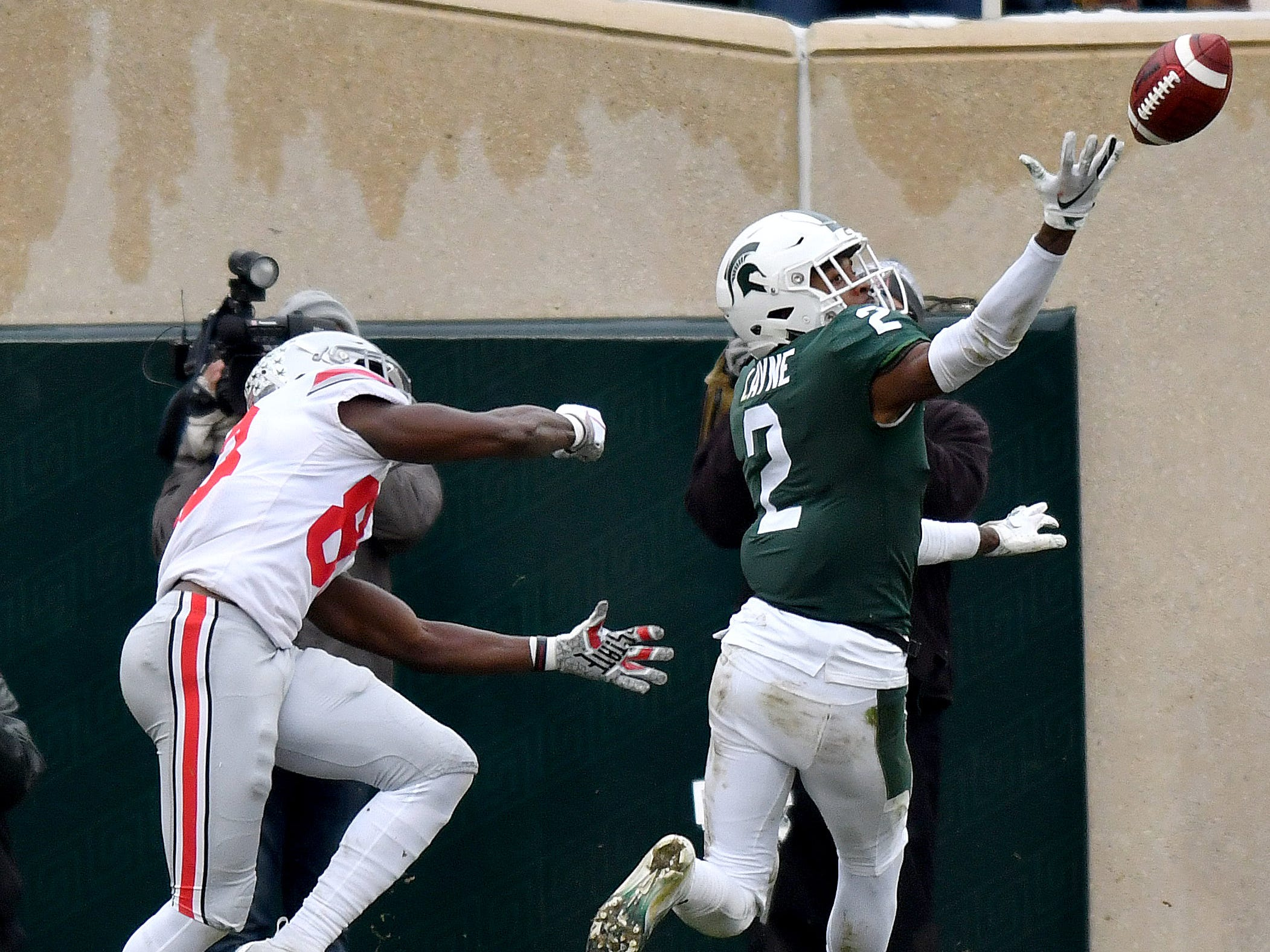 Cornerback Justin Layne bats away a pass intended for Terry McLaurin in the second quarter.