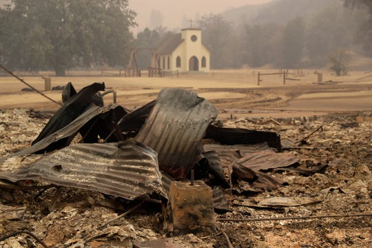Paramount Ranch, where a number of Hollywood westerns have been filmed, is seen after it was decimated by a wildfire Friday, Nov. 9, 2018, in Augura Hills, Calif.