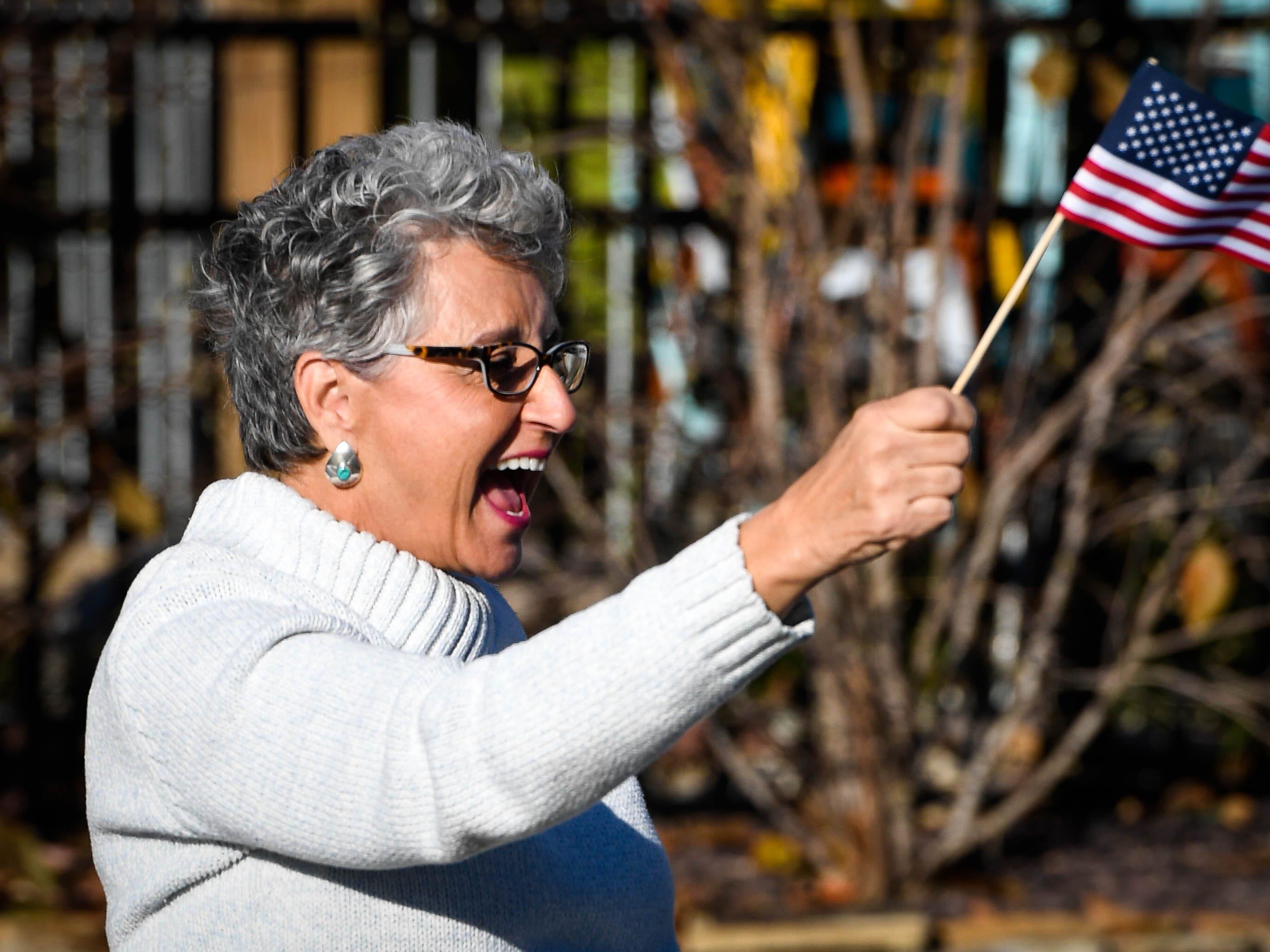 Linda Dyer waves her flag at passing parade floats during the annual Four Freedoms Veterans Parade on Evansville's West Franklin Street Saturday, November 10, 2018.