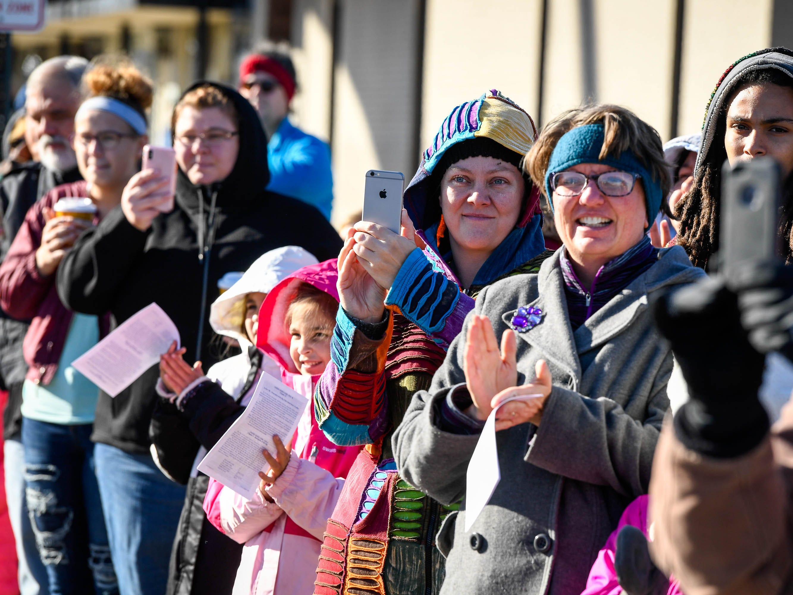 Eager parade watchers line-up to see the annual Four Freedoms Veterans Parade on Evansville's West Franklin Street Saturday, November 10, 2018.