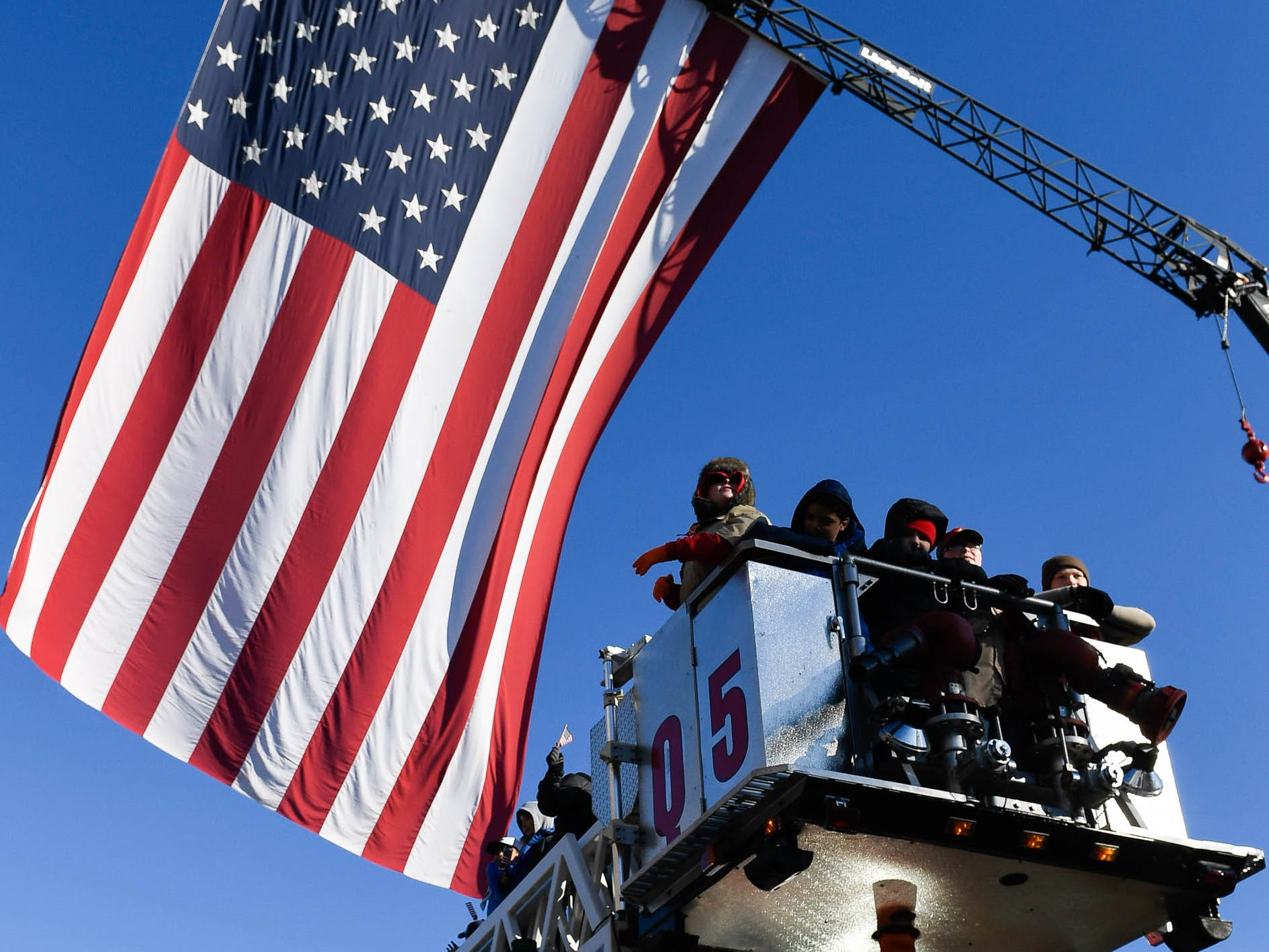The McCutchanville Fire Department ladder truck at the annual Four Freedoms Veterans Parade on Evansville's West Franklin Street Saturday, November 10, 2018.
