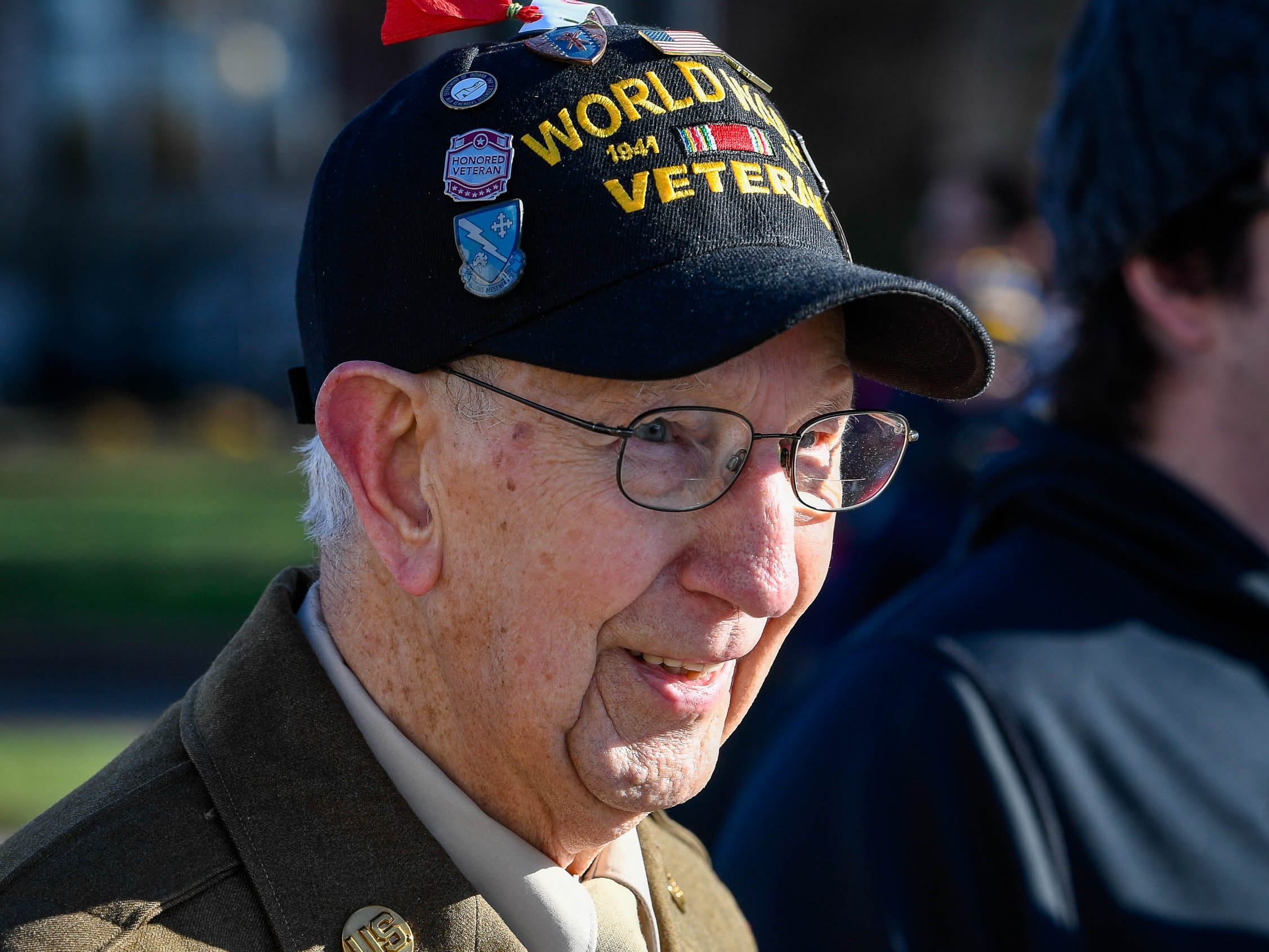 World War II veteran Marvin L. Sue of Evansville at the annual Four Freedoms Veterans Parade on Evansville's West Franklin Street Saturday, November 10, 2018.