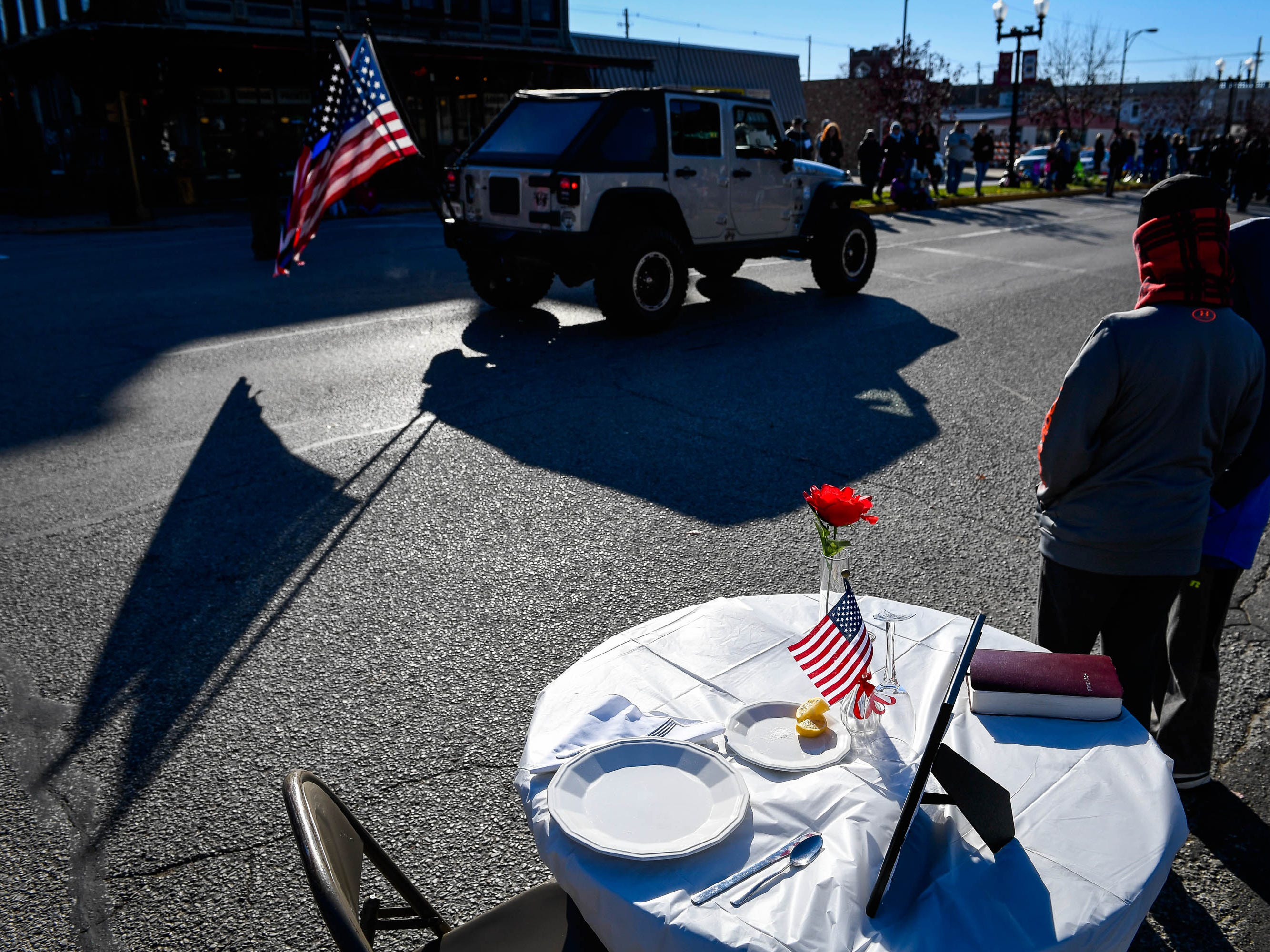 Missing Man table set up at the annual Four Freedoms Veterans Parade on Evansville's West Franklin Street Saturday, November 10, 2018.
