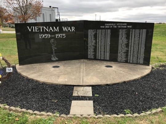 Evansville's Vietnam War memorial stands near the riverfront on Nov. 9, 2018.