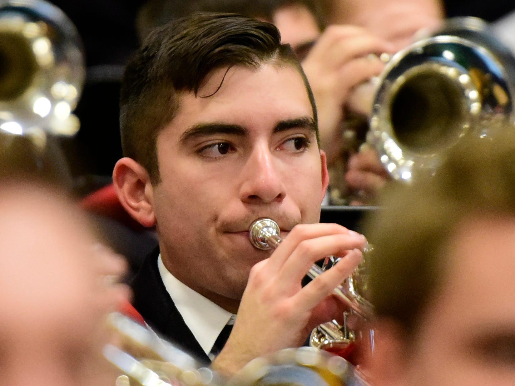 2016 Port Clinton High graduate Adam Wells performs with the OSU Marching Band on Friday night.