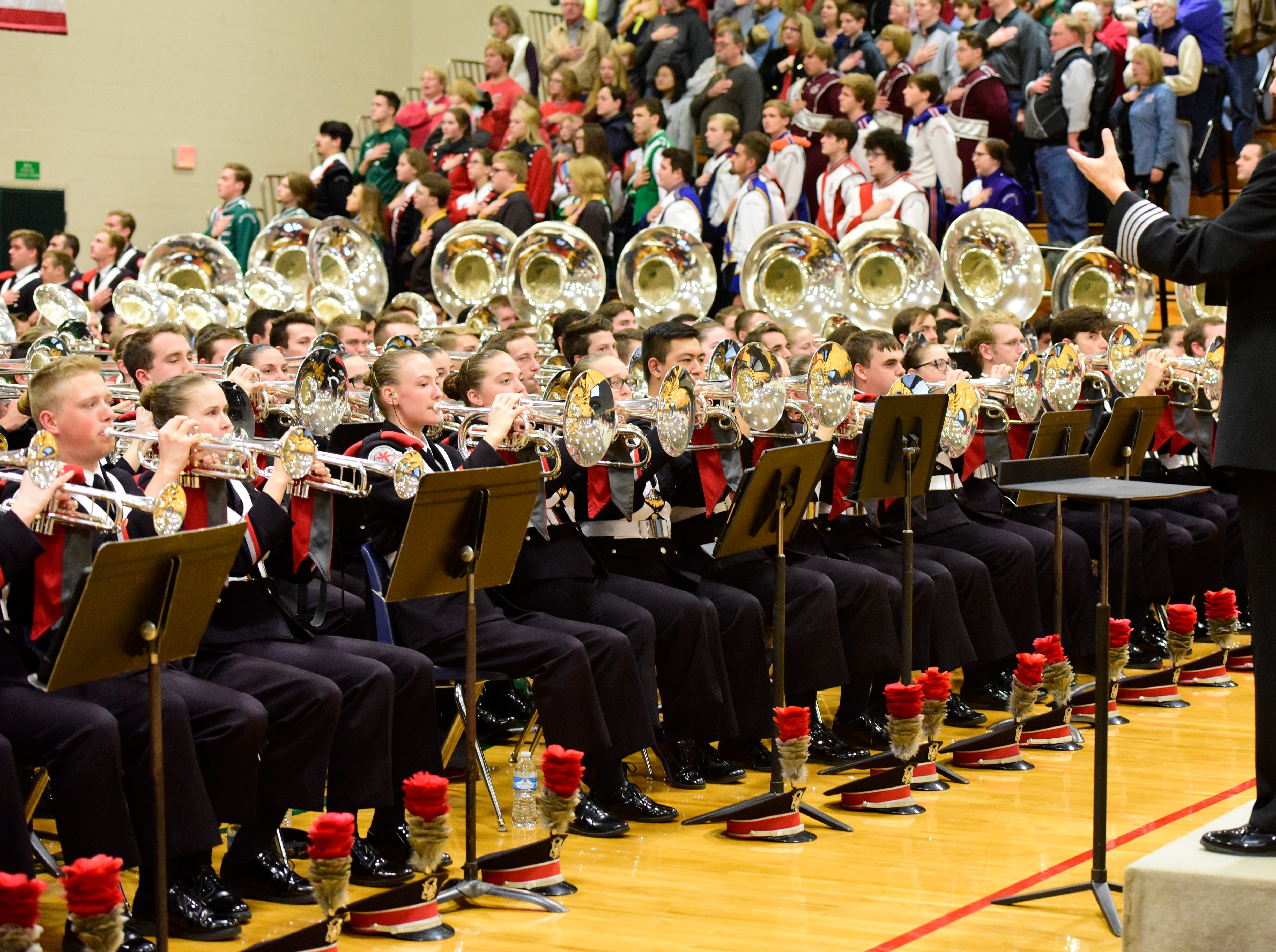 The OSU Marching Band performs at Oak Harbor High School on Friday night.