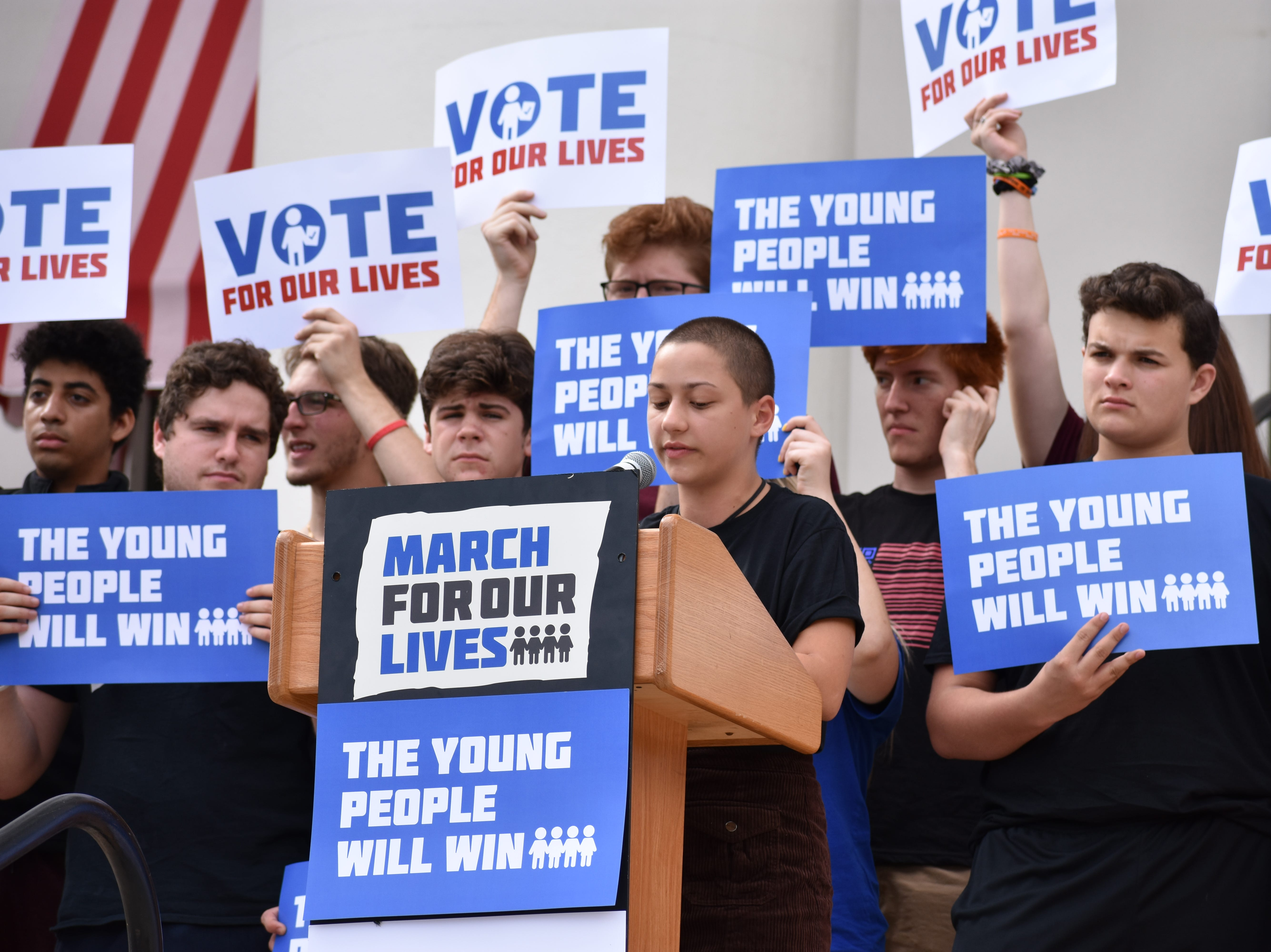 Parkland shooting survivor and March For Our Lives activist Emma González  delivered a speech from the Capitol building's steps to urge young people to vote and elect leaders willing to enact gun control reforms.