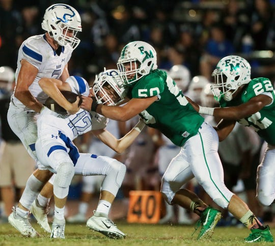 Fort Myers senior lineman Joshua Repetti (50) leads the team into its 100th football season in 2019. The Greenies are coming off a 9-3 2018 season where they reached a regional semifinal.