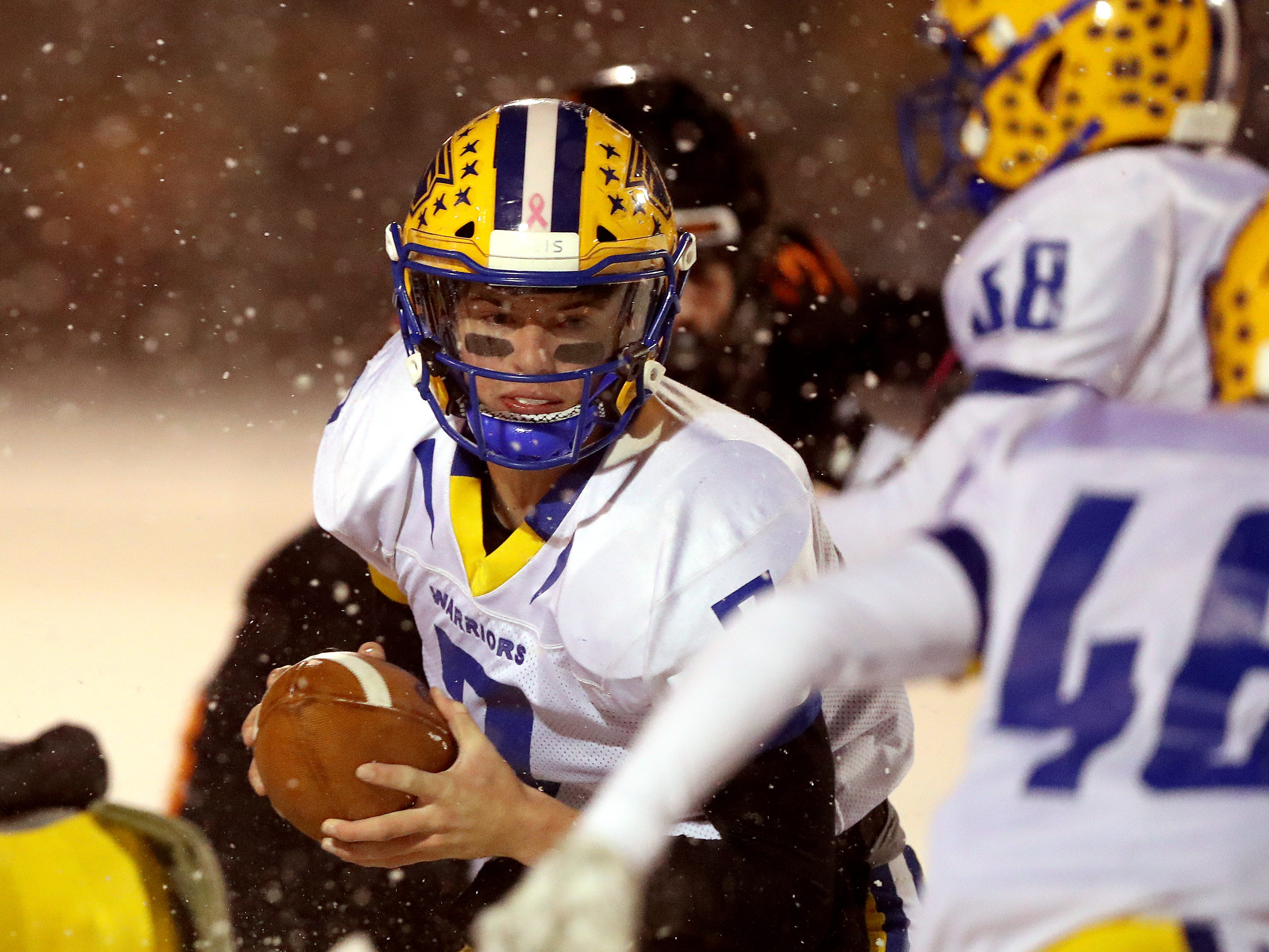 Rice Lake quarterback Peyton Buckley hands off against West De Pere in the Division 3 Level 4  WIAA playoffs Friday, November 9, 2018 at DC Everest in Weston, Wis.