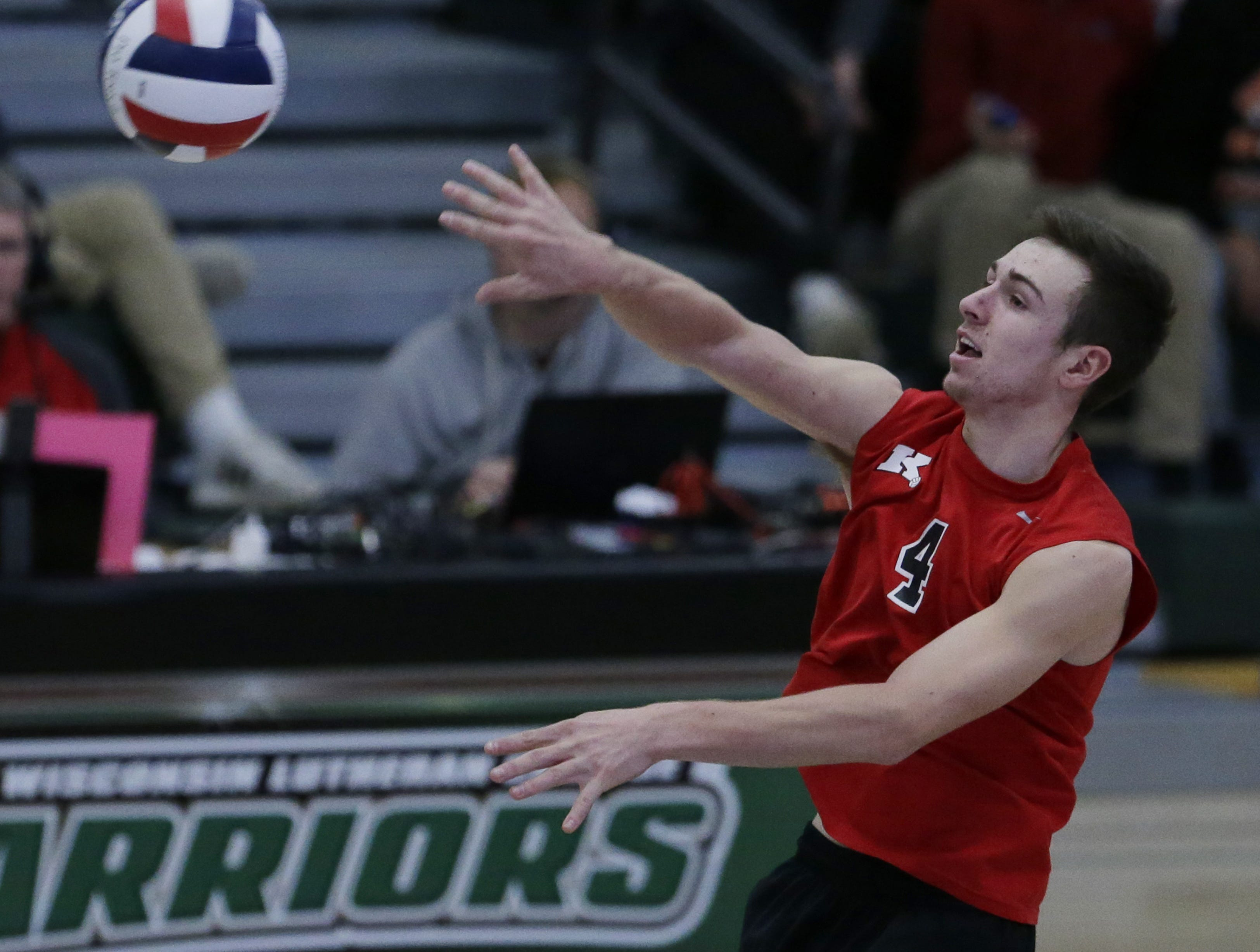 Kimberly's Trey Anderson hits the ball during the game.  Kimberly Papermakers played Kenosha Indian Trail Hawks in Division 1 WIAA boys volleyball playoff semi-final, Saturday, November 10, 2018 at Wisconsin Lutheran College in Milwaukee, Wis. Joe Sienkiewicz/USA Today NETWORK-Wisconsin