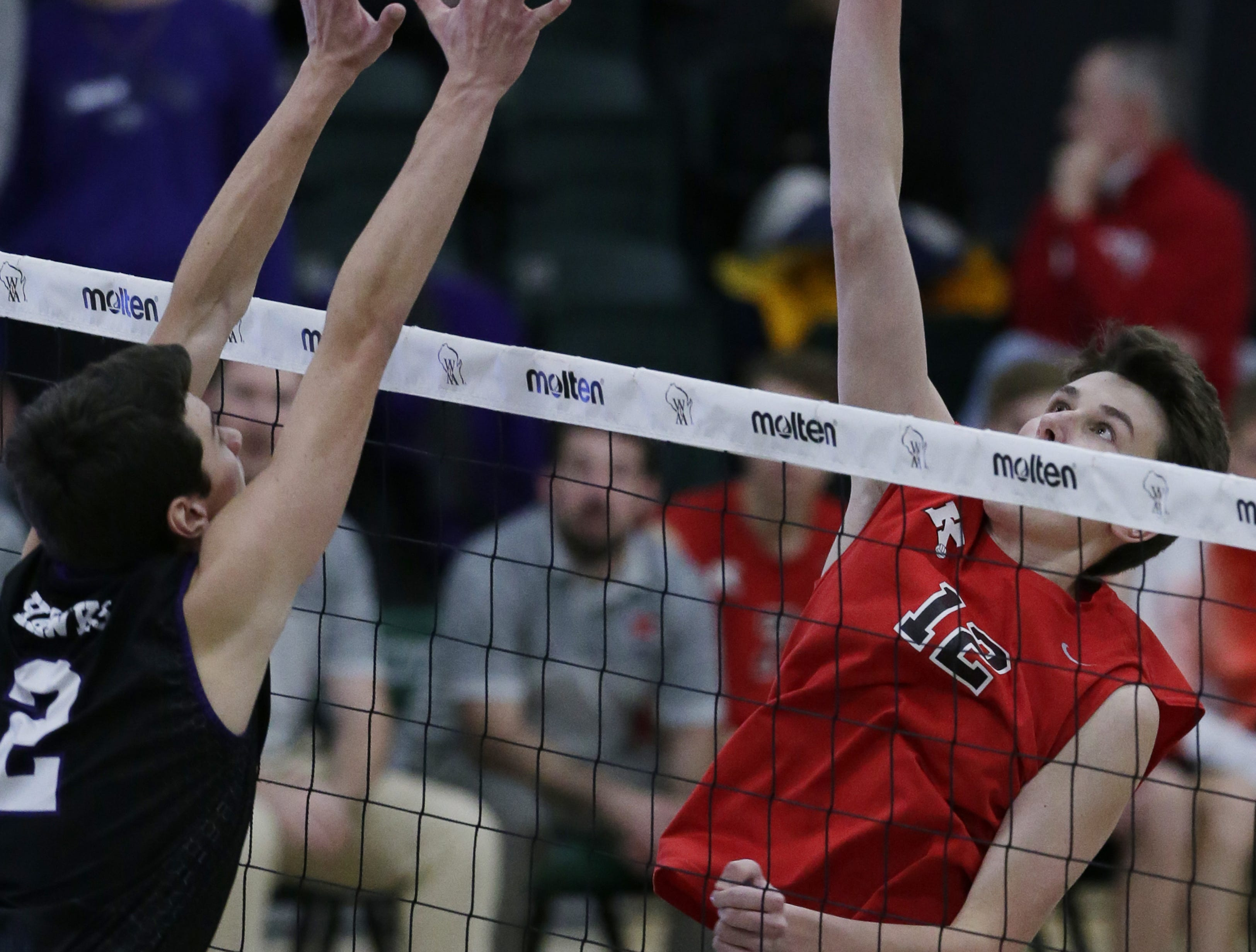 Kimberly's Parker Hietpas goes up for a hit during their game.  Kimberly Papermakers played Kenosha Indian Trail Hawks in Division 1 WIAA boys volleyball playoff semi-final, Saturday, November 10, 2018 at Wisconsin Lutheran College in Milwaukee, Wis. Joe Sienkiewicz/USA Today NETWORK-Wisconsin