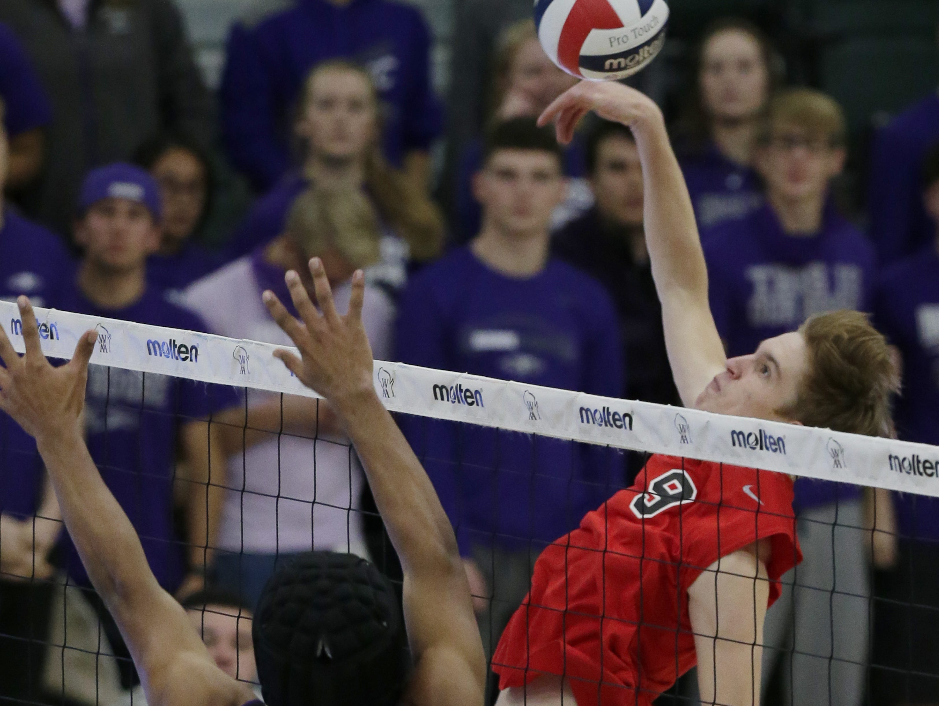 Kimberly's Tommy Clausz goes up for a hit during the game.  Kimberly Papermakers played Kenosha Indian Trail Hawks in Division 1 WIAA boys volleyball playoff semi-final, Saturday, November 10, 2018 at Wisconsin Lutheran College in Milwaukee, Wis. Joe Sienkiewicz/USA Today NETWORK-Wisconsin