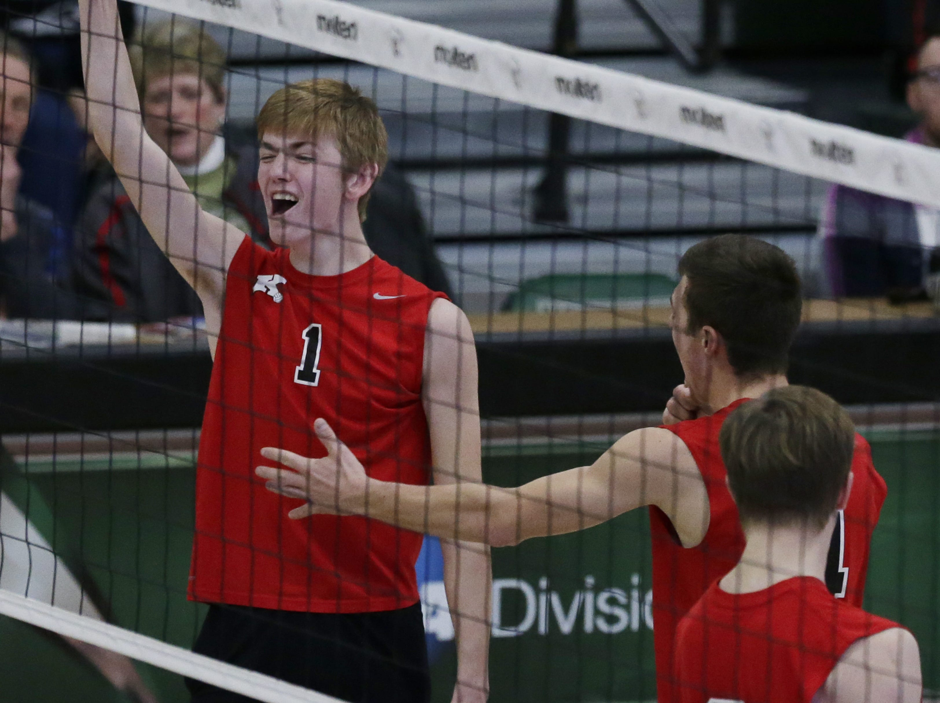 Kimberly's Spencer Herman reacts to a point during their game.  Kimberly Papermakers played Kenosha Indian Trail Hawks in Division 1 WIAA boys volleyball playoff semi-final, Saturday, November 10, 2018 at Wisconsin Lutheran College in Milwaukee, Wis. Joe Sienkiewicz/USA Today NETWORK-Wisconsin