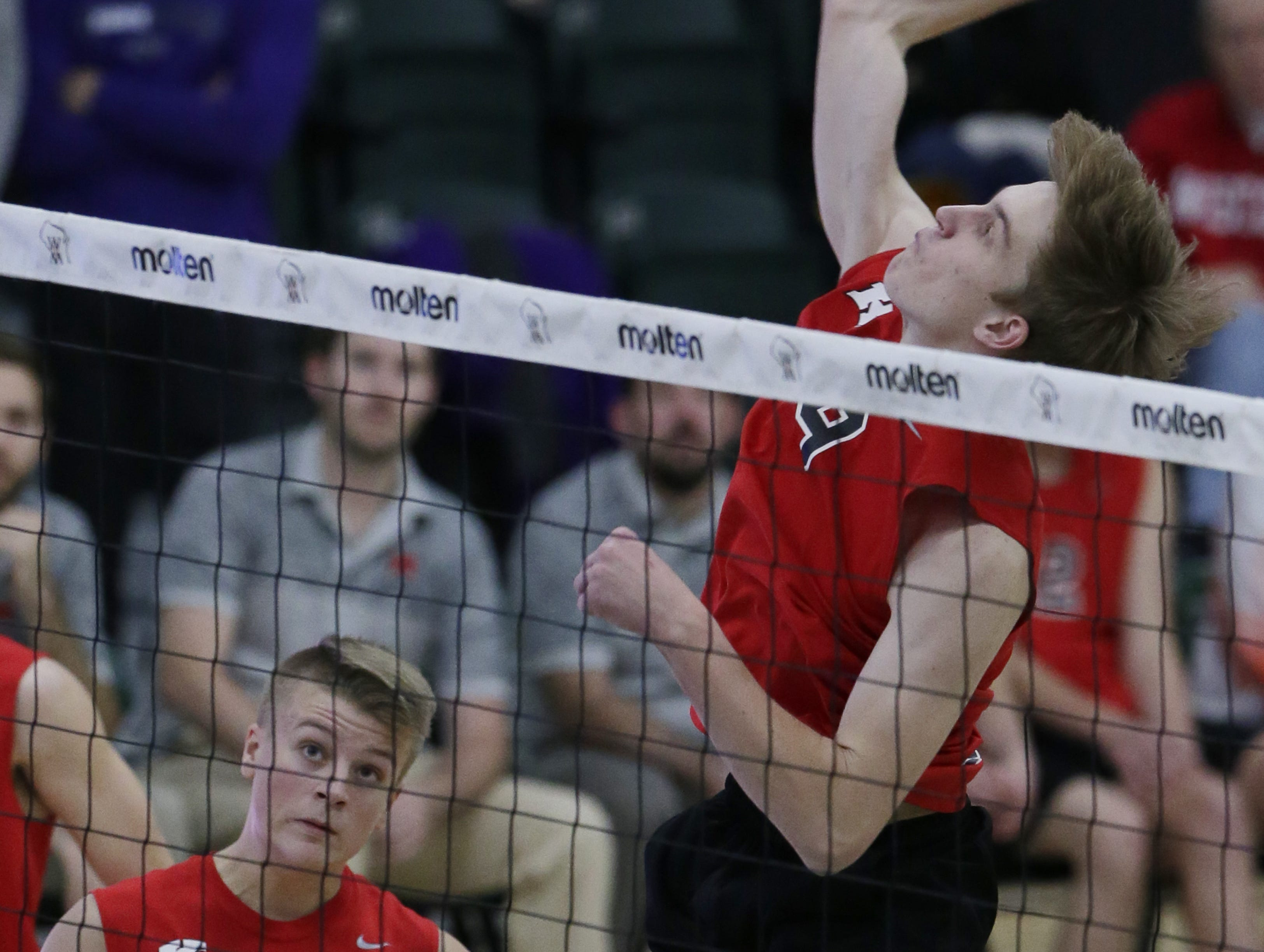 Kimberly's Tommy Clausz goes up for a hit during their game.  Kimberly Papermakers played Kenosha Indian Trail Hawks in Division 1 WIAA boys volleyball playoff semi-final, Saturday, November 10, 2018 at Wisconsin Lutheran College in Milwaukee, Wis. Joe Sienkiewicz/USA Today NETWORK-Wisconsin