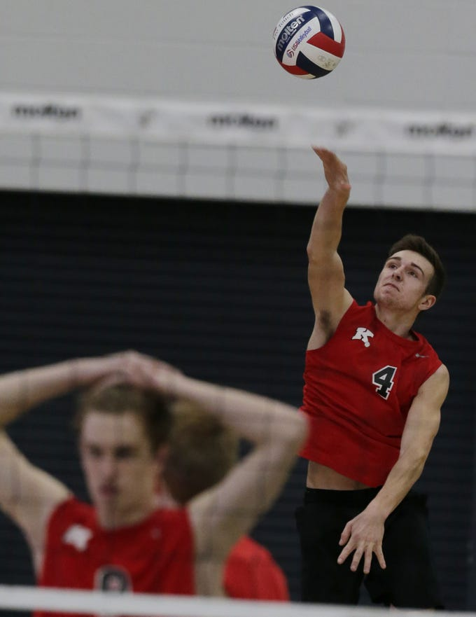 Kimberly's Trey Anderson serves up the ball during their game.  Kimberly Papermakers played Kenosha Indian Trail Hawks in Division 1 WIAA boys volleyball playoff semi-final, Saturday, November 10, 2018 at Wisconsin Lutheran College in Milwaukee, Wis.  Papermakers advance to the Championship game. Joe Sienkiewicz/USA Today NETWORK-Wisconsin