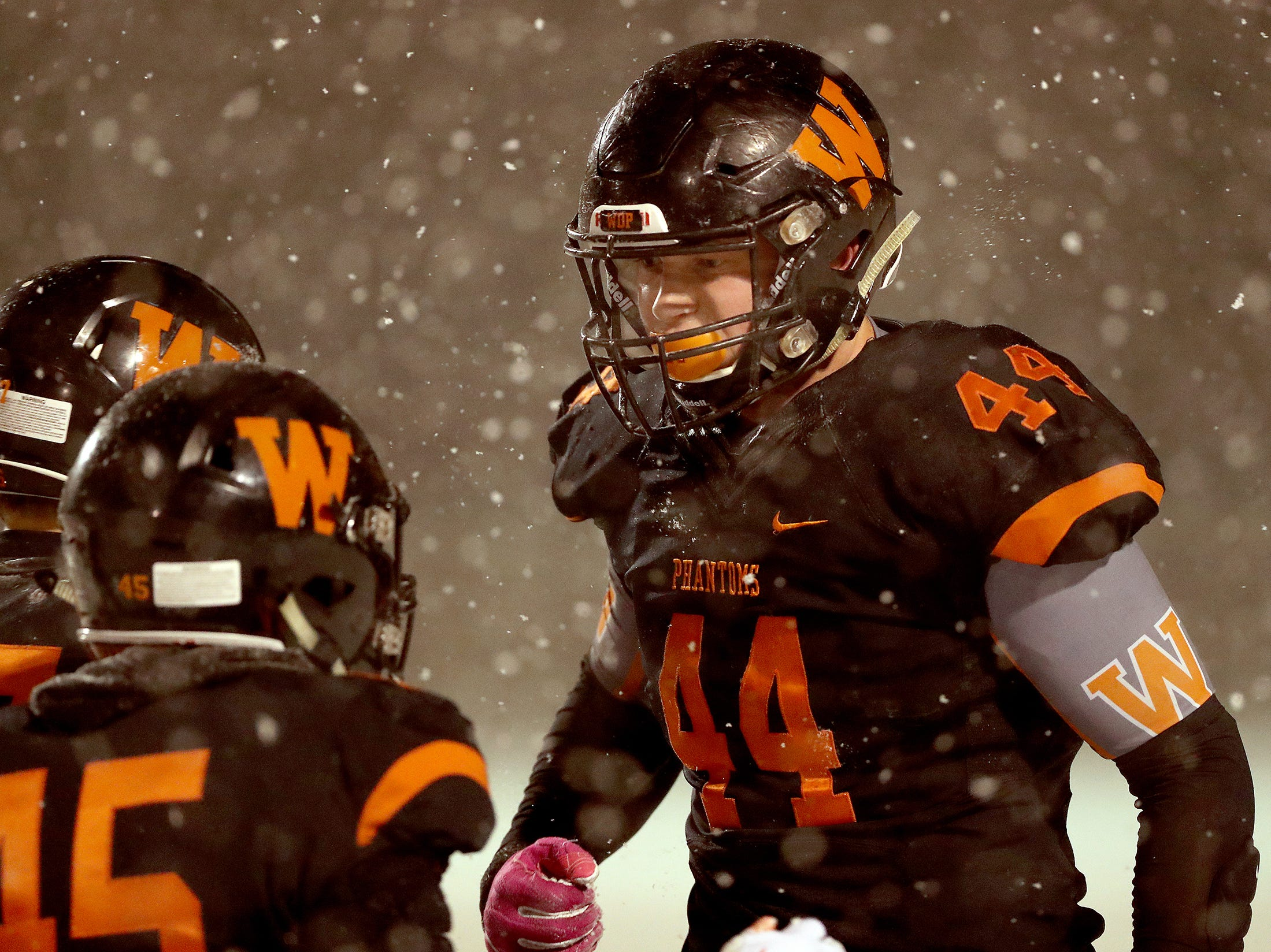 West De Pere's Jake Karchinski is fired up after a defensive stop against Rice Lake in the Division 3 Level 4  WIAA playoffs Friday, November 9, 2018 at DC Everest in Weston, Wis.