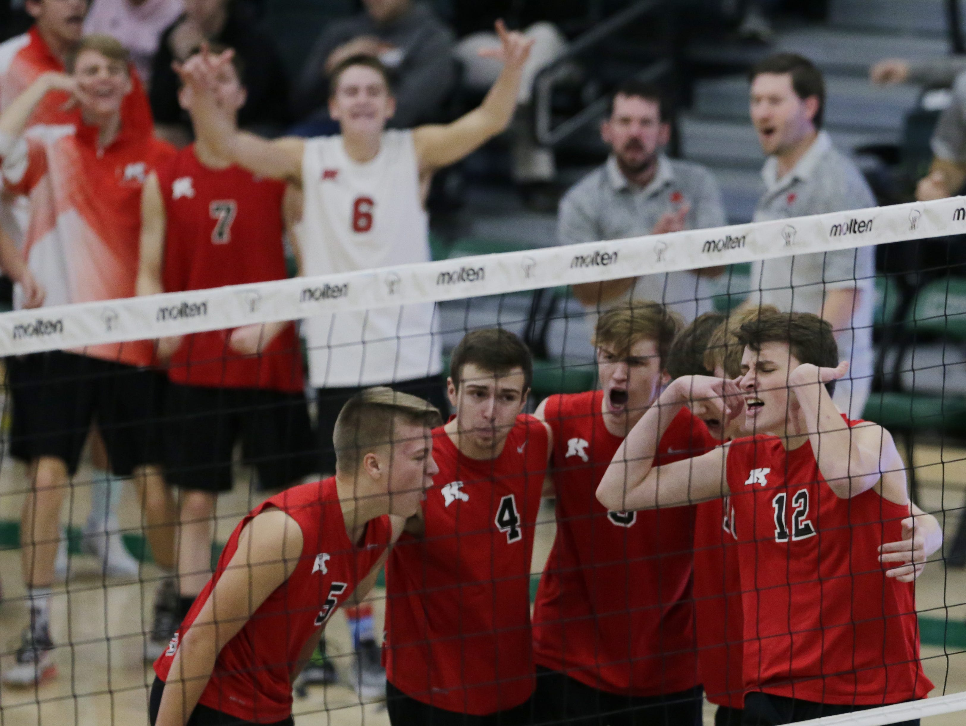 Kimberly's Parker Hietpas reacts to a point during their game.  Kimberly Papermakers played Kenosha Indian Trail Hawks in Division 1 WIAA boys volleyball playoff semi-final, Saturday, November 10, 2018 at Wisconsin Lutheran College in Milwaukee, Wis. Joe Sienkiewicz/USA Today NETWORK-Wisconsin