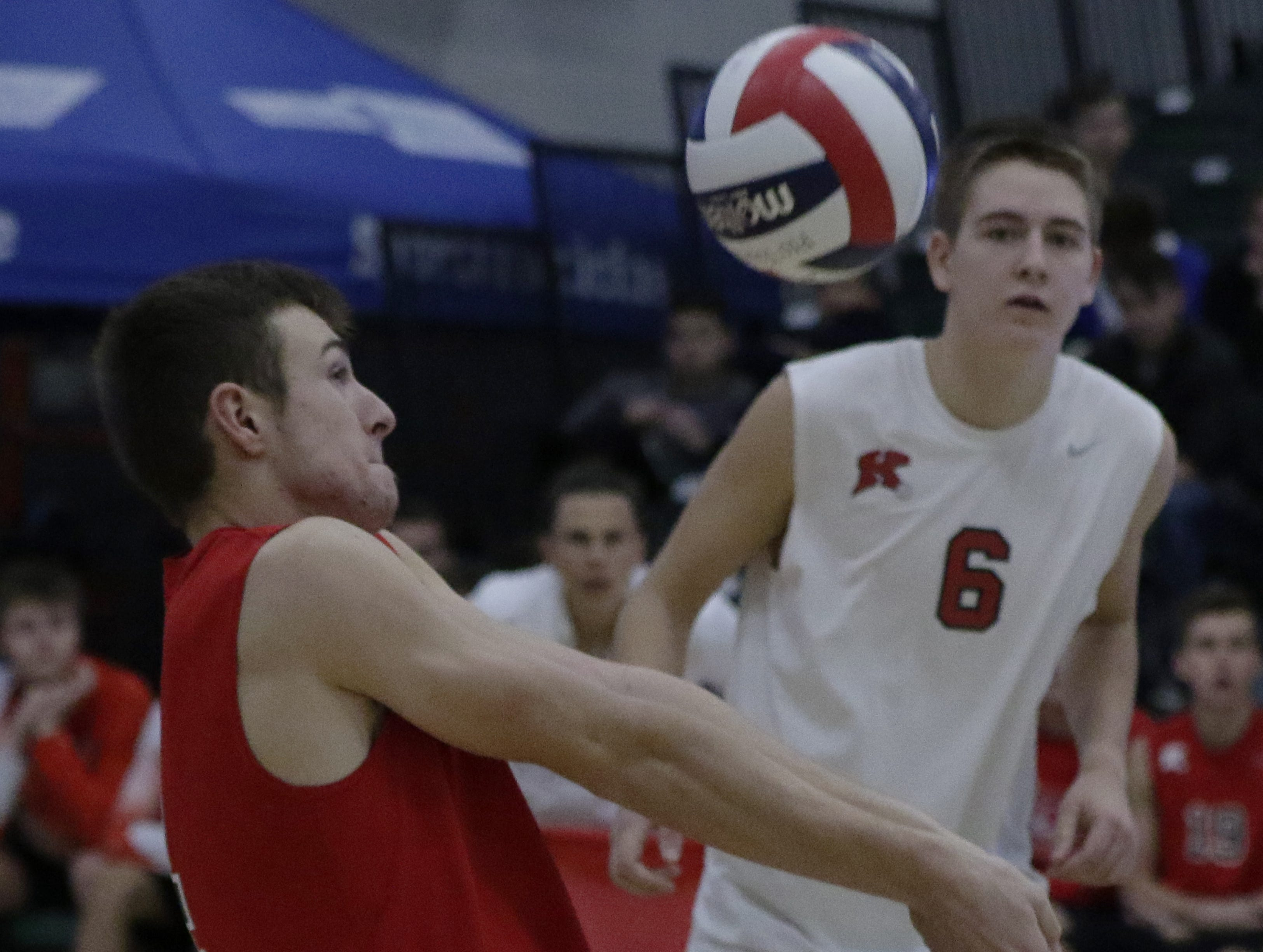 Kimberly's Trey Anderson bumps up the ball after a serve.  Kimberly Papermakers played Kenosha Indian Trail Hawks in Division 1 WIAA boys volleyball playoff semi-final, Saturday, November 10, 2018 at Wisconsin Lutheran College in Milwaukee, Wis. Joe Sienkiewicz/USA Today NETWORK-Wisconsin
