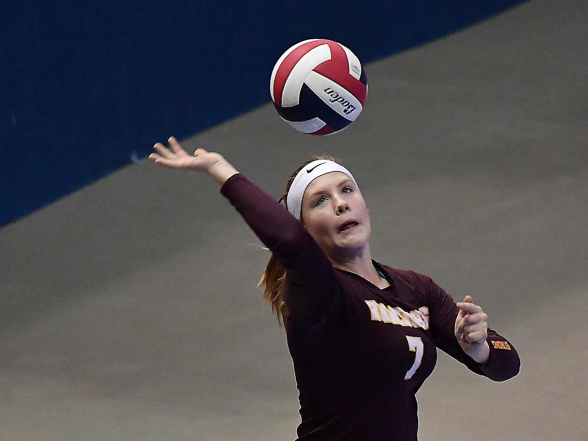 Choteau's Jessie Henderson serves in a match against Fairfield at the All-Class State Volleyball Tournament at the Brick Breeden Fieldhouse in Bozeman Friday.
