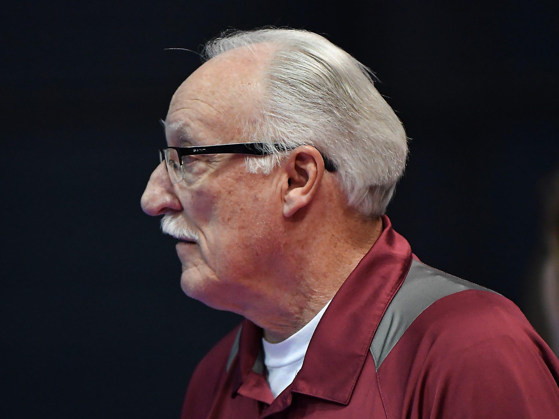 Veteran Bridger head coach Wayne Moorman at the All-Class State Volleyball Tournament at the Brick Breeden Fieldhouse in Bozeman Friday.