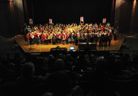 Students at Choteau Elementary School honor military veterans with a Veterans Day concert on Friday afternoon in Choteau.