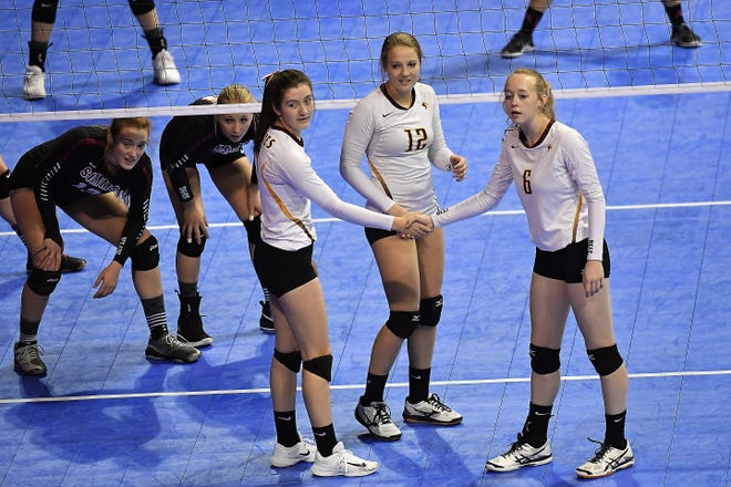 The Belt Huskies and Simms Tigers squared off in the Class C undefeated semifinal at the All-Class State Volleyball Tournament at the Brick Breeden Fieldhouse in Bozeman Friday.