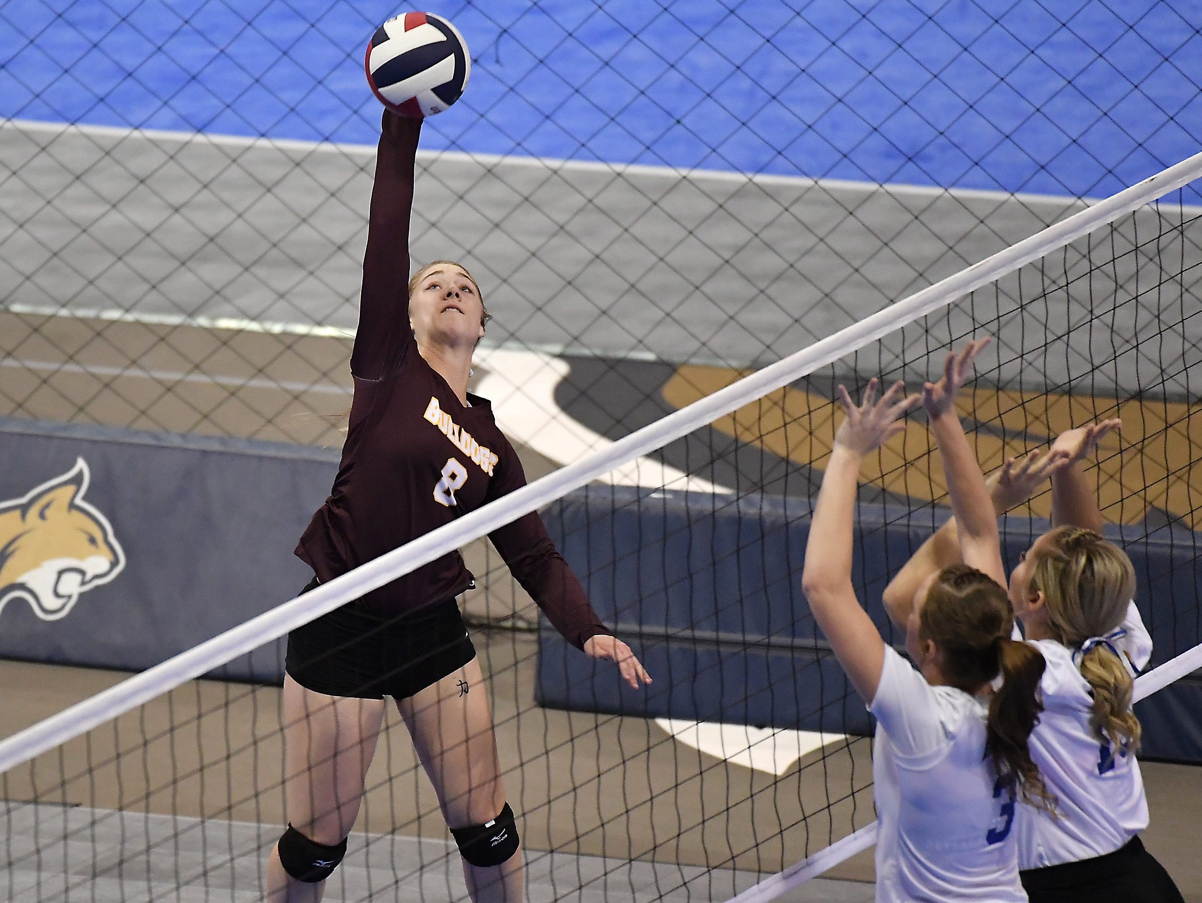 Michaela Gunderson of Choteau tallies a kill on Fairfield at the All-Class State Volleyball Tournament at the Brick Breeden Fieldhouse in Bozeman Friday.