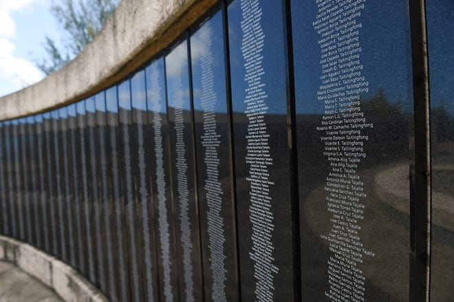 The Memorial Wall of Names, a wall commemorating Guam's World War ll casualties, at the Asan Bay Overlook on Nimitz Hill, Nov. 10, 2018.