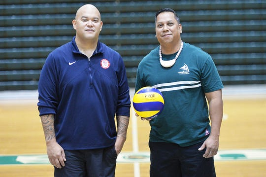 Mike Rabago, left and Joel Quitugua, head coaches for Guam's National Volleyball Teams, are ready to take Guam to new heights in regional volleyball. All they need are 28 players with the right attitude.