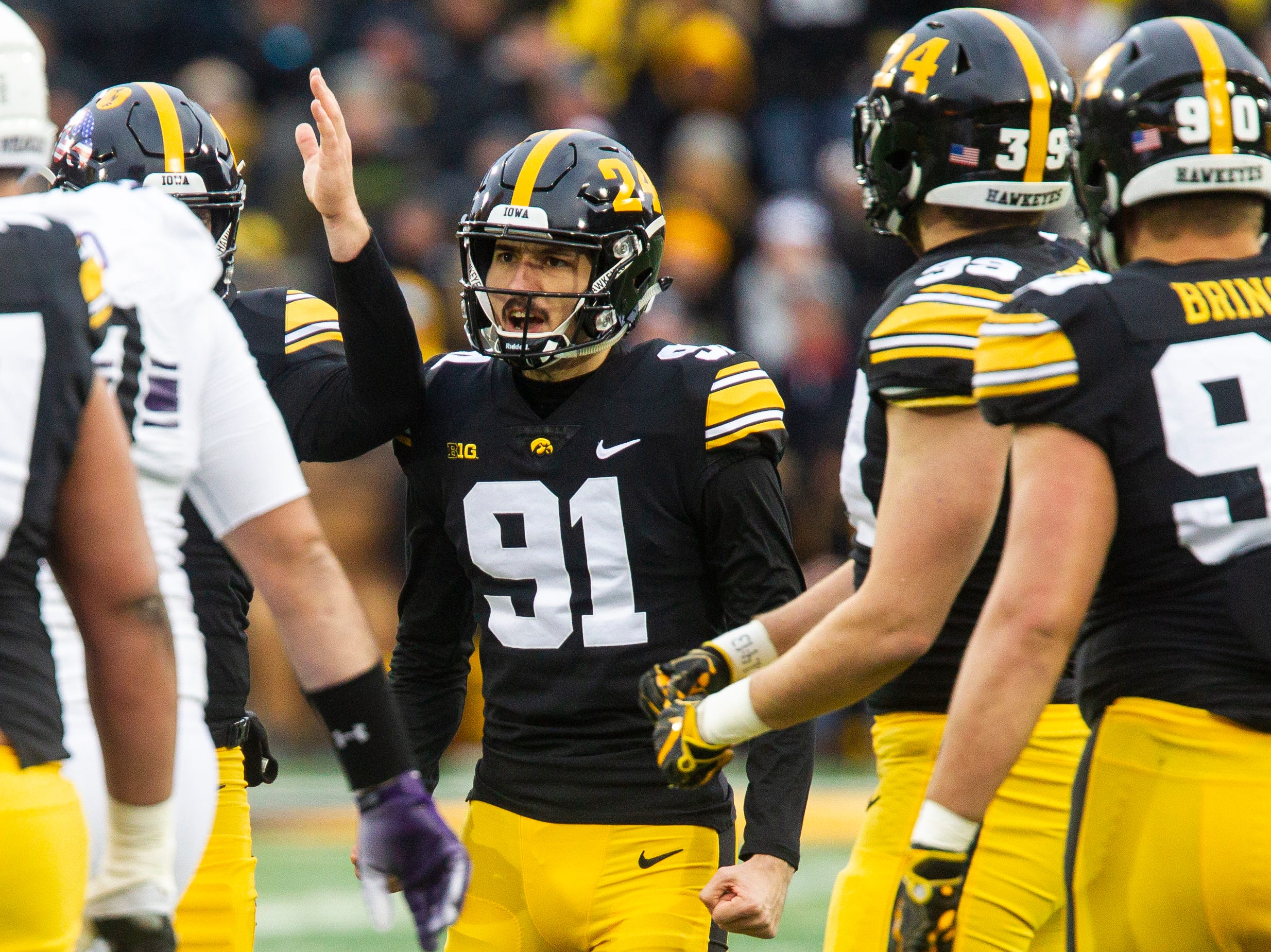 Iowa placekicker Miguel Recinos (91) celebrates after making a field goal during a Big Ten Conference football game on Saturday, Nov. 10, 2018, at Kinnick Stadium in Iowa City.