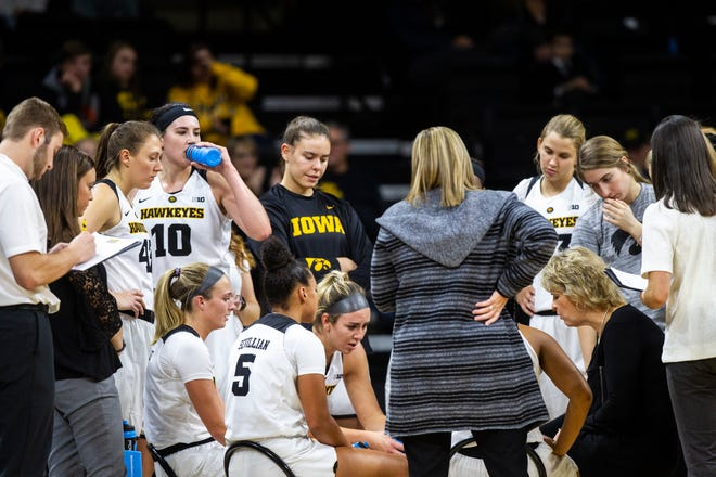 Iowa head coach Lisa Bluder talks with players at a timeout during a women's NCAA basketball game on Friday, Nov. 9, 2018, at Carver-Hawkeye Arena in Iowa City.