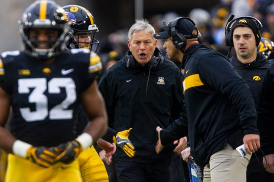 Iowa head coach Kirk Ferentz calls out to LeVar Woods during a Big Ten Conference football game on Saturday, Nov. 10, 2018, at Kinnick Stadium in Iowa City.