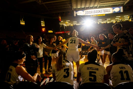 Iowa forward Hannah Stewart (21) is introduced before a women's NCAA basketball game on Friday, Nov. 9, 2018, at Carver-Hawkeye Arena in Iowa City.