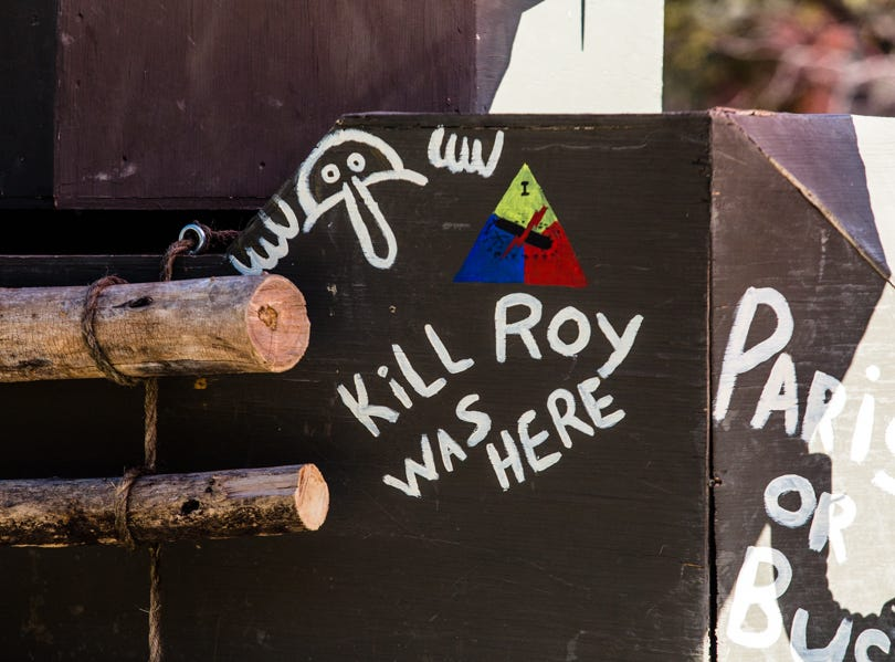 """Kill Roy Was Here"" is spotted on a tank replica during the Veterans Day Parade."