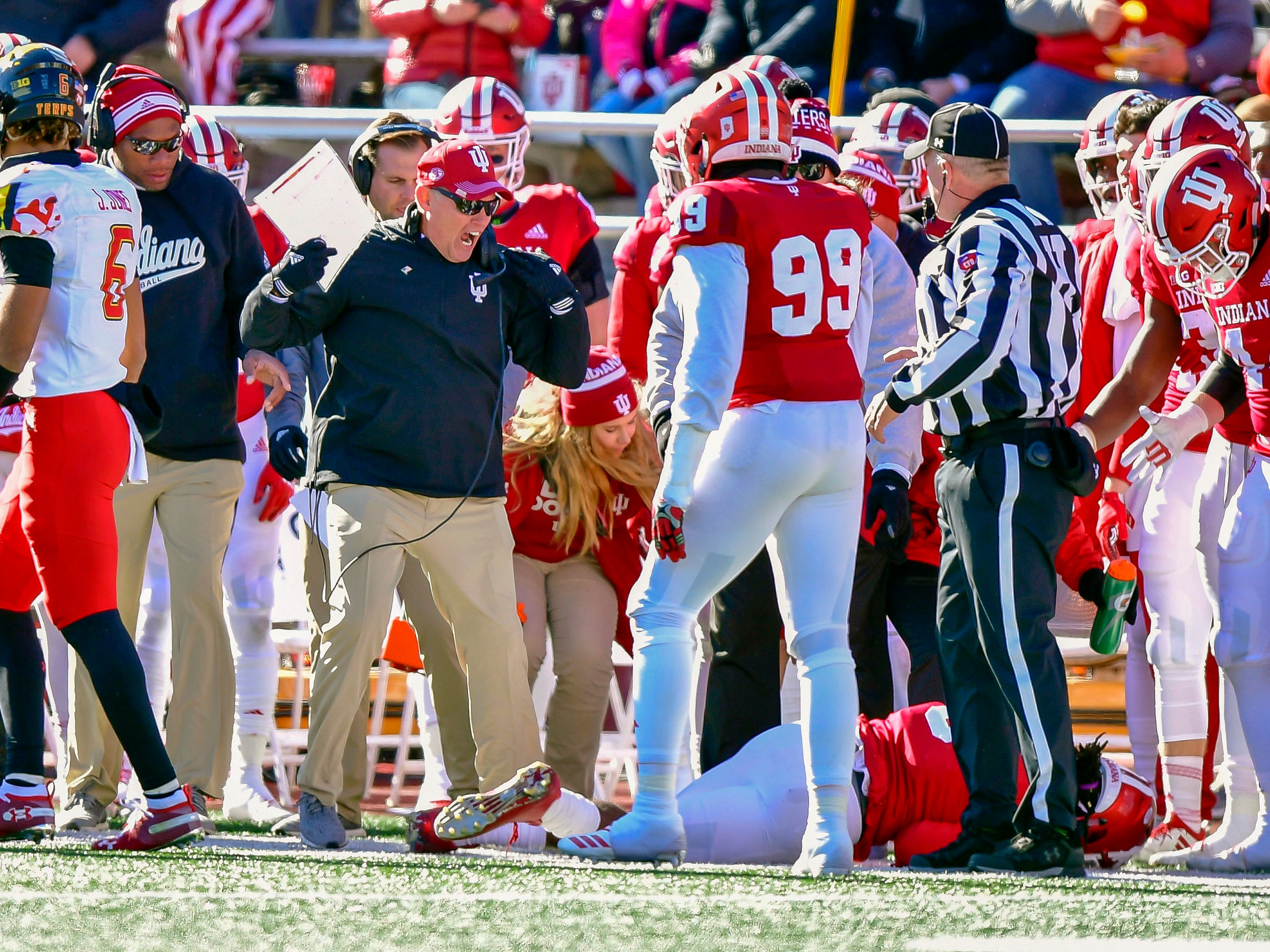 Hoosiers head coach Tom Allen reacts to a player sliding out of bounds into his team during the fist half of the the game against the Maryland Terrapins at Memorial Stadium.