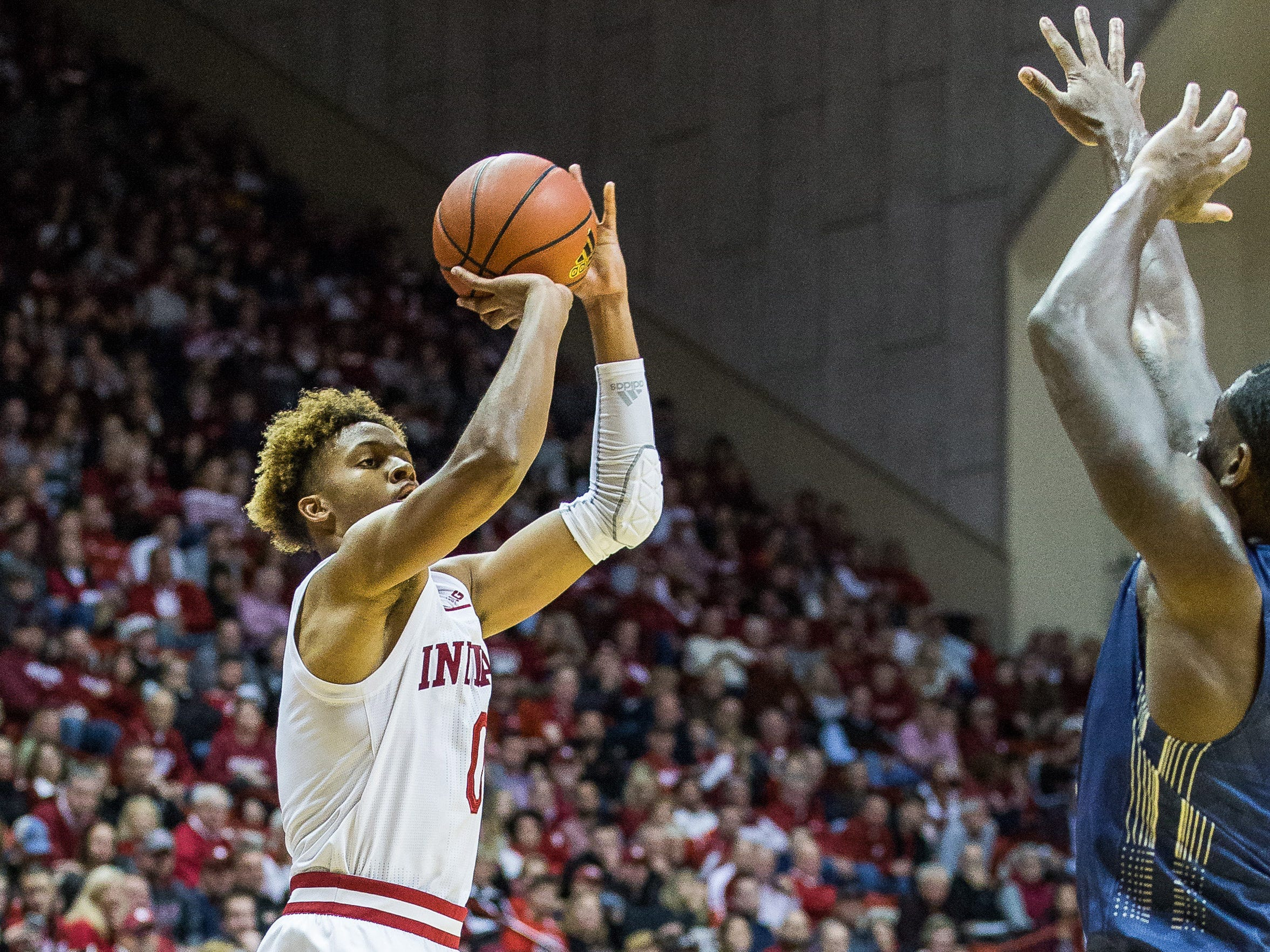 Indiana Hoosiers guard Romeo Langford (0) shoots the ball in the first half against the Montana State Bobcats at Assembly Hall.